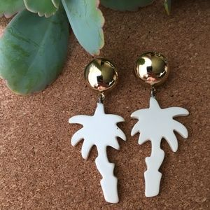 VTG Palm Tree Door Knocker Tropical Earrings